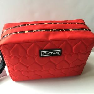 Betsey Johnson Large Quilted Red Heart Make Up Bag